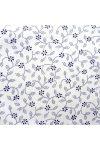 ILONKA, fehér alapon, kék kékfestő mintás, leveles-virágos pamutvászon