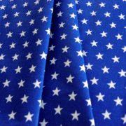 Star, fehér csillag mintás királykék pamut vászon