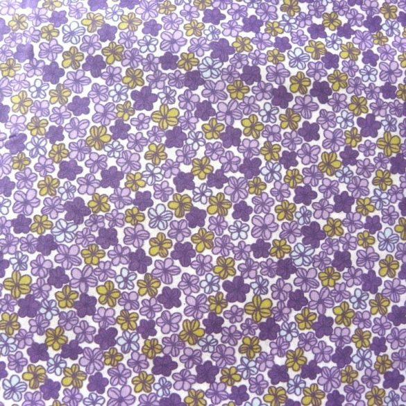 BARACKVIRÁG, apró virágmintás pamutvászon méteráru, lila