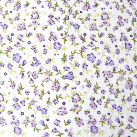 KISVIRÁG, lila virágmintás pamutvászon