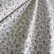 BERTA, apró lila virágos, leveles mintás pamut vászon