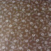 ILONKA, kékfestő mintás, leveles-virágos barna pamutvászon