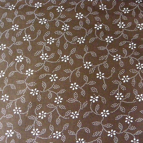 Kékfestő leveles, virágos barna pamut vászon