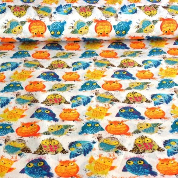 GÖMBI, pufók madár mintás pamut vászon, narancs-türkiz