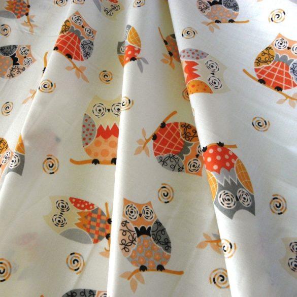 OWL, bagoly mintás pamut vászon, narancs