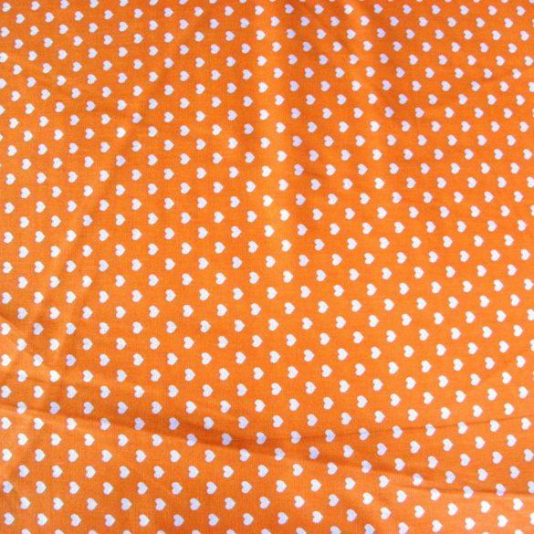 Írisz fehér szíves, narancssárga pamutvászon