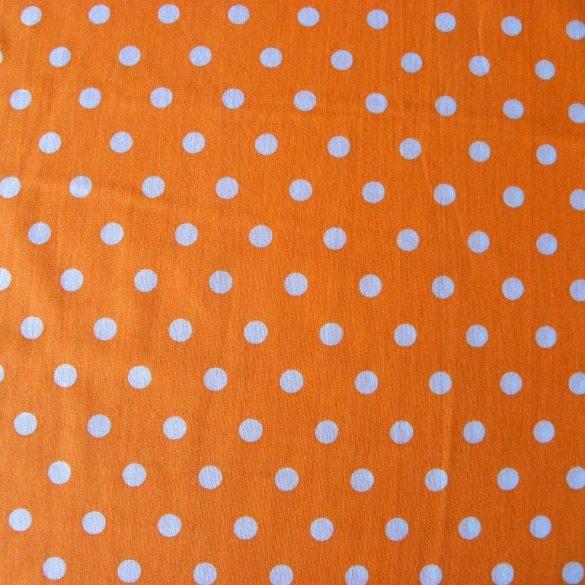 Írisz fehér pöttyös, narancs pamutvászon