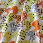 MACKÓ, színes macifej mintás pamut vászon, narancs
