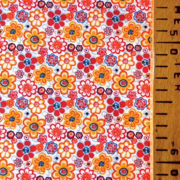 GRÉTI, virágmintás pamutvászon méteráru, narancs