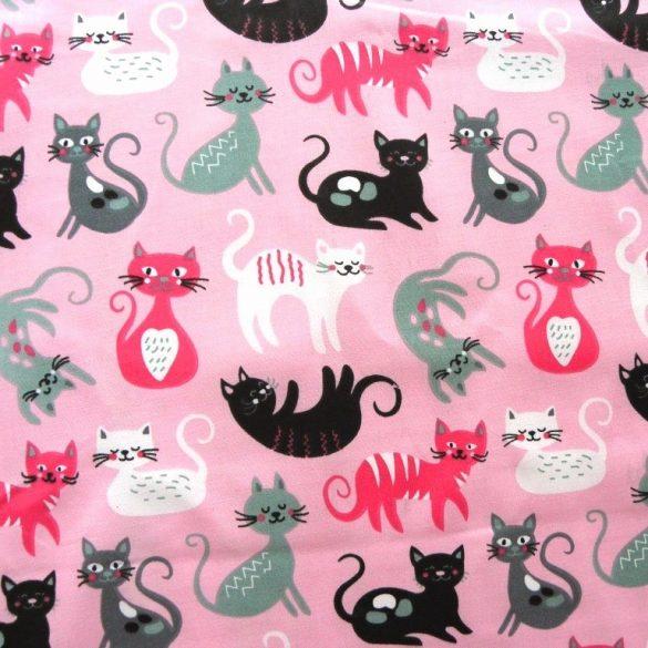 CIRMI, cica mintás pamutvászon - pink