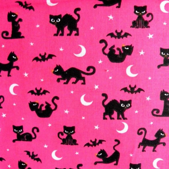 BOSZICICA, cicás, denevéres pink-fekete pamutvászon