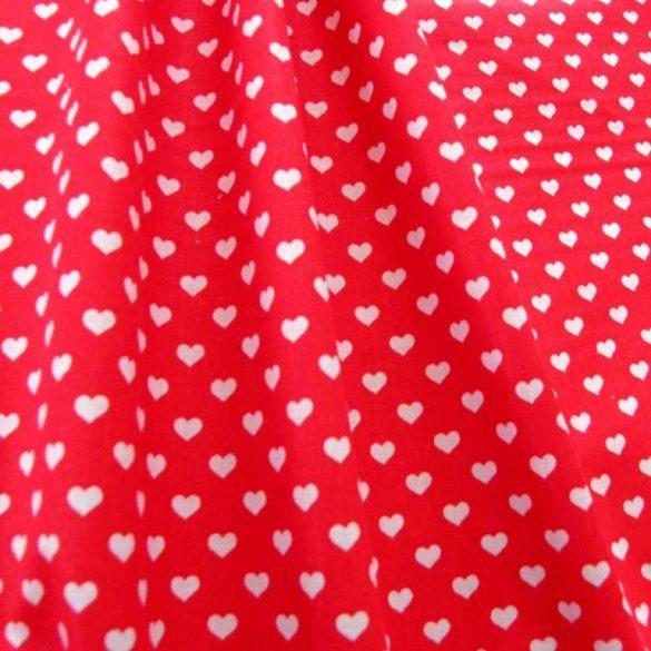 Heart, szívecske mintás pamutvászon, piros