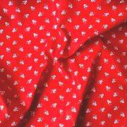 Kékfestő aprómintás piros pamut vászon