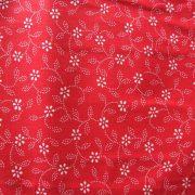 ILONKA, kékfestő mintás, leveles-virágos piros pamutvászon