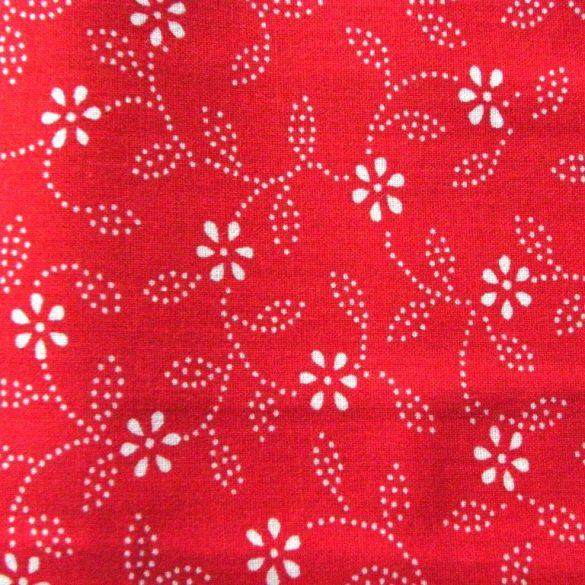 Kékfestő mintás, leveles-virágos piros pamut vászon
