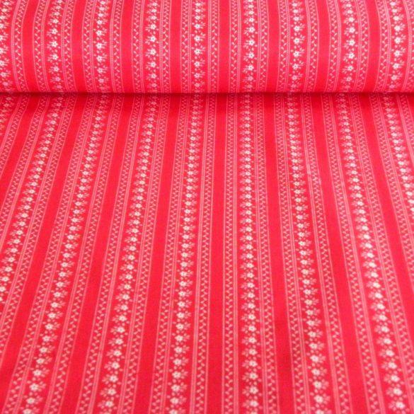 JULISKA, csíkos kékfestő mintás pamut vászon, piros