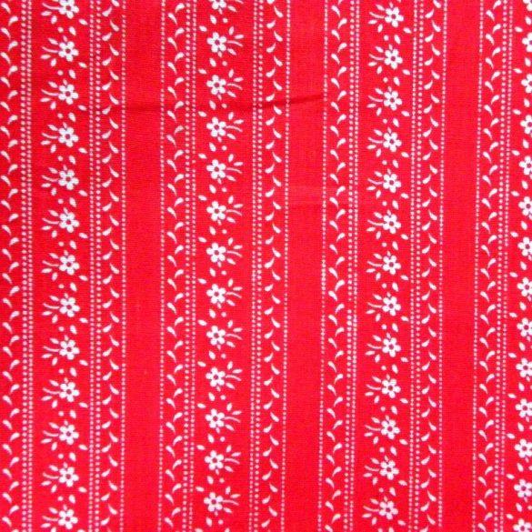 JULISKA, csíkos kékfestő mintás pamutvászon, piros
