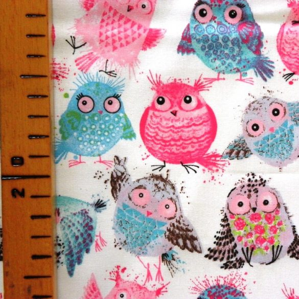 GÖMBI, pufók madár mintás pamut vászon, pink-kék