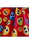 EMOJI, smiley mintás pamutvászon - sötétpiros