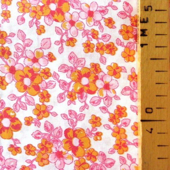 BARACKVIRÁG, virágmintás pamutvászon méteráru, pink