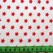 Írisz piros csillagos pamutvászon