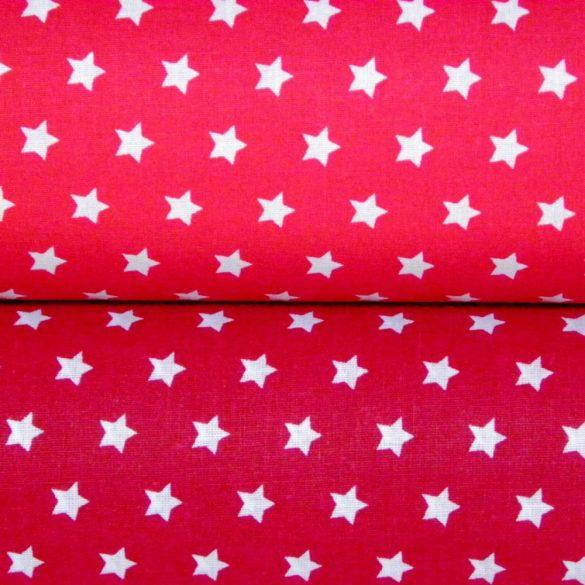 Írisz fehér csillagos piros pamutvászon