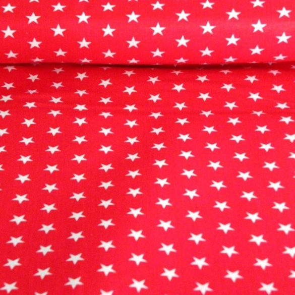 Star, fehér csillag mintás piros pamut vászon