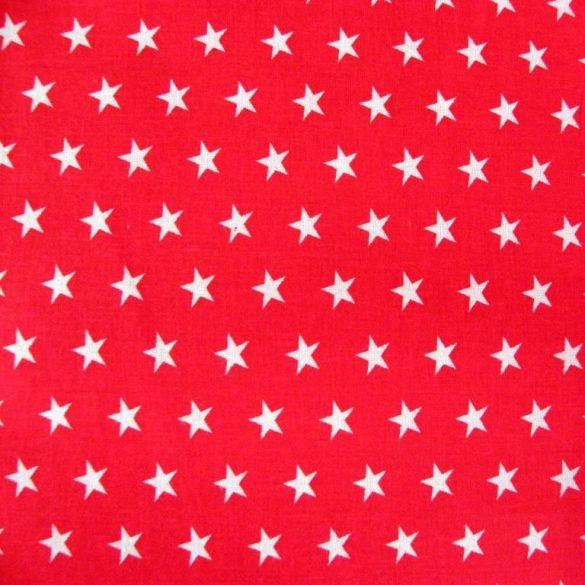 STAR, fehér csillag mintás piros pamutvászon