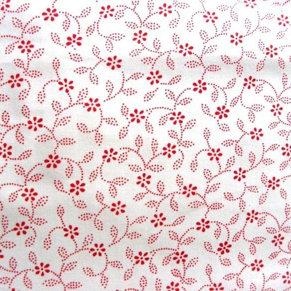 ILONKA, fehér alapon, piros kékfestő mintás, leveles-virágos pamutvászon