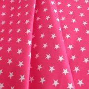 STAR, fehér csillag mintás pink pamutvászon