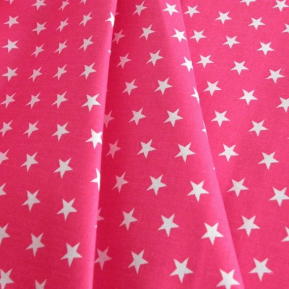 Star, fehér csillag mintás pink pamut vászon