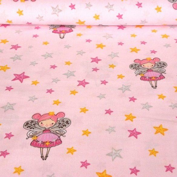 TÜNDÉRKE, tündéres, csillagos mintás pamutvászon - rózsaszín
