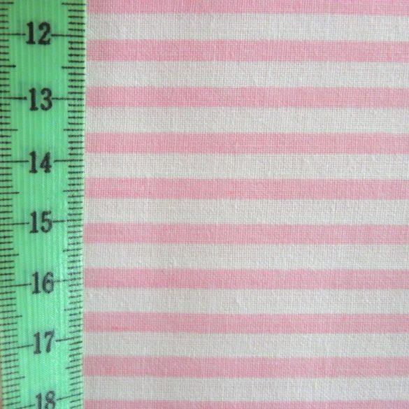 STRIPE, csíkos pamut vászon méteráru, rózsaszín