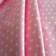STAR, fehér csillag mintás rózsaszín pamut vászon, maradék darabok