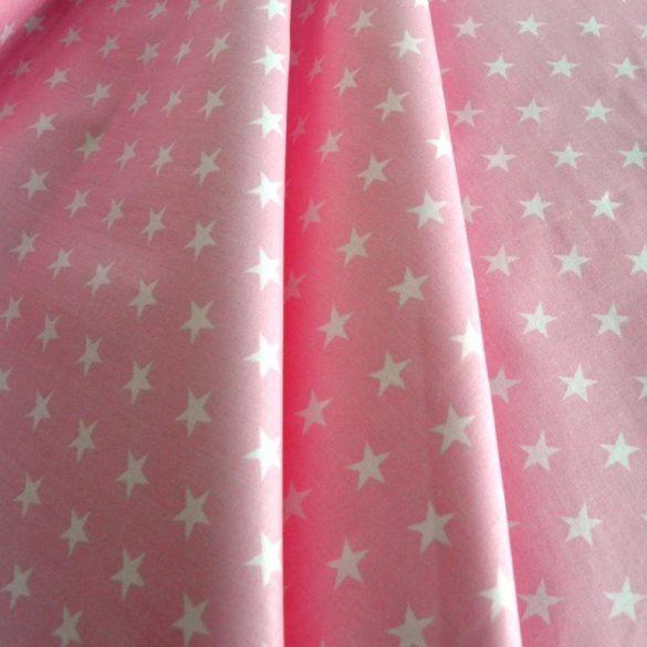 Star, fehér csillag mintás rózsaszín pamut vászon