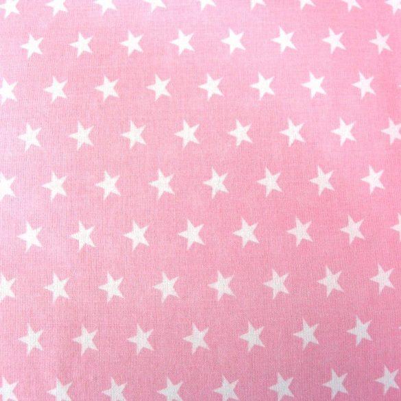 STAR, fehér csillag mintás rózsaszín pamutvászon