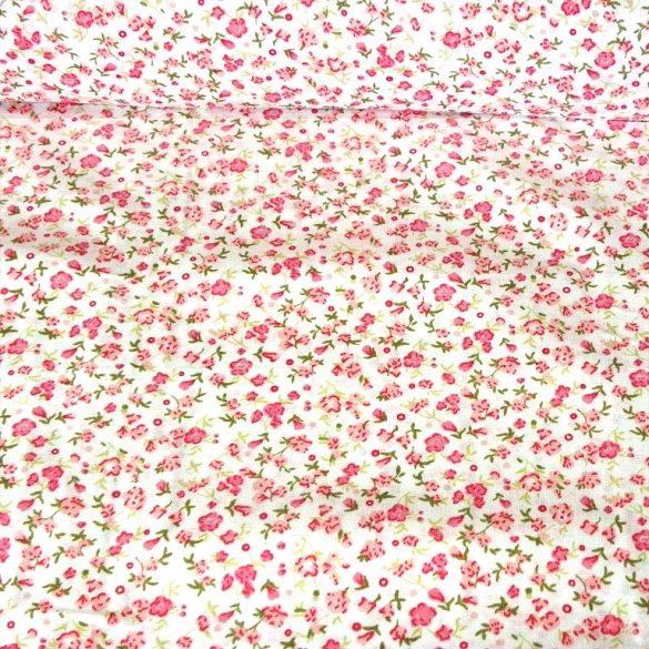 KISVIRÁG, rózsaszín virágmintás pamutvászon