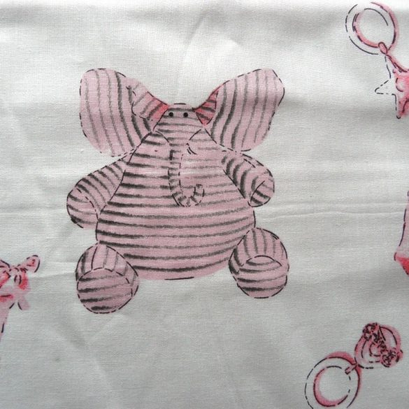 KID, rózsaszín babamintás pamutvászon méteráru