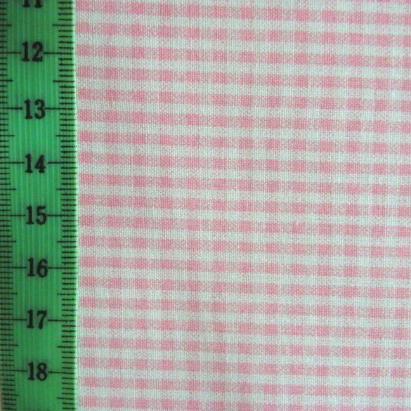 ZEFIR, aprókockás pamutvászon méteráru, rózsaszín