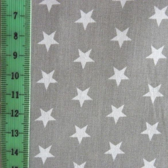 Star, fehér csillag mintás szürke pamut vászon