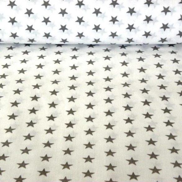 Star, szürke csillag mintás fehér pamut vászon
