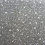 Kékfestő mintás, leveles-virágos szürke pamut vászon
