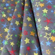 COLORSTAR, szürke, színes csillag mintás pamutvászon