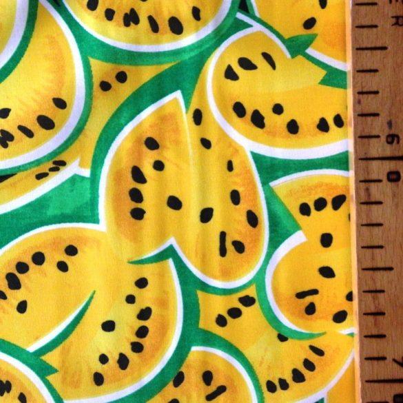 MELON, dinnye mintás pamutvászon méteráru, sárga