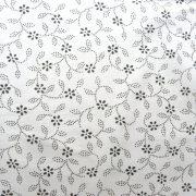 ILONKA, fehér alapon, szürke kékfestő mintás, leveles-virágos pamutvászon
