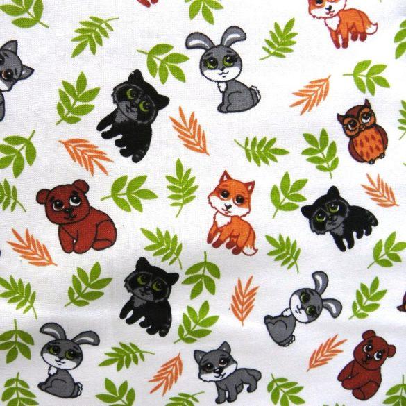CUKI, apró állatok mintás pamutvászon - színes