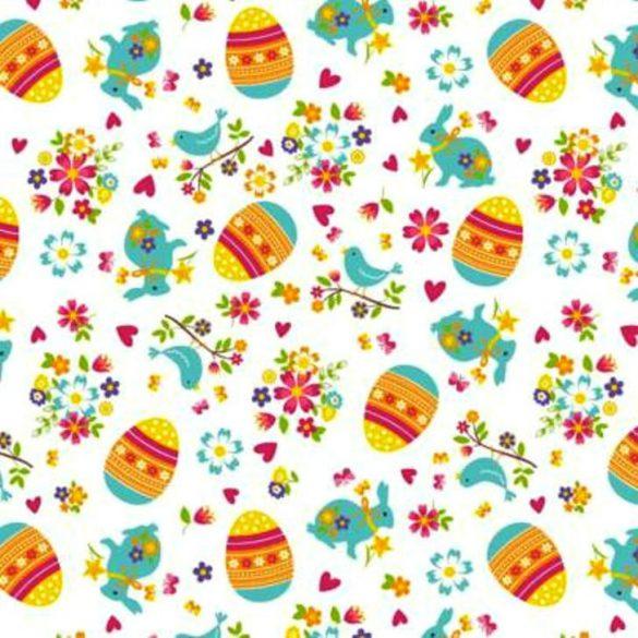 HÚSVÉT, nyuszis, húsvéti mintás pamut vászon - türkiz, színes