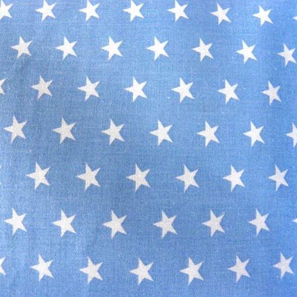 Star, fehér csillag mintás világoskék pamut vászon