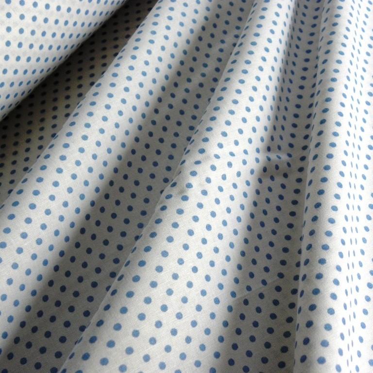 504998c4af Írisz világoskék aprópöttyös pamutvászon | Textilpont Lakástextil ...