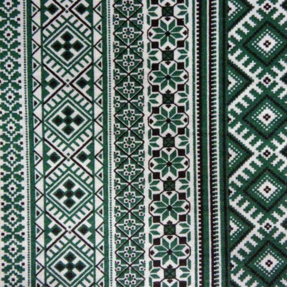 PALÓC, zöld szőttes jellegű, nyomott telimintás pamutvászon